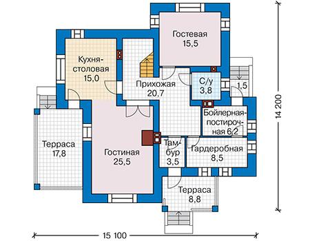 Планировка первого этажа :: Проект дома из кирпича 42-26