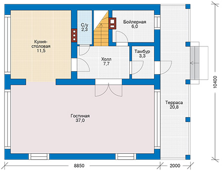 Планировка первого этажа :: Проект дома из кирпича 42-31