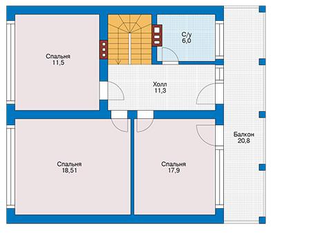 Планировка мансардного этажа :: Проект дома из кирпича 42-31