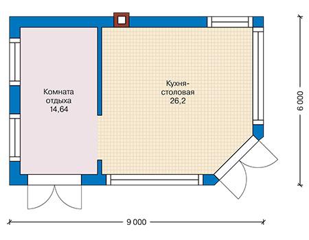 Планировка первого этажа :: Проект дома из кирпича 42-40
