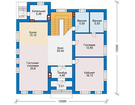 Планировка первого этажа :: Проект дома из кирпича 42-59