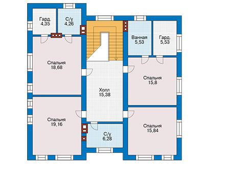 Планировка второго этажа :: Проект дома из кирпича 42-59