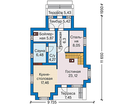 Планировка первого этажа :: Проект дома из кирпича 42-65