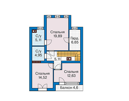 Планировка мансардного этажа :: Проект дома из кирпича 42-65