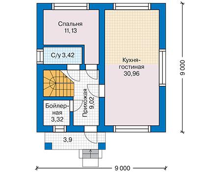 Планировка первого этажа :: Проект дома из кирпича 42-68