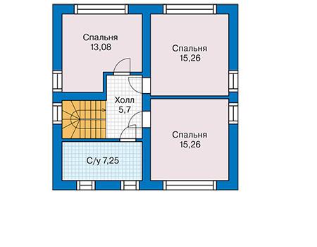 Планировка мансардного этажа :: Проект дома из кирпича 42-68
