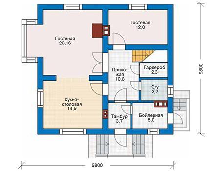 Планировка первого этажа :: Проект дома из кирпича 42-71