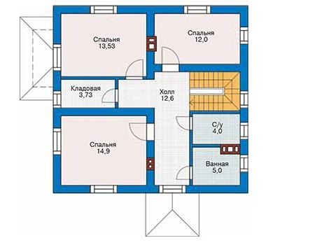 Планировка второго этажа :: Проект дома из кирпича 42-71