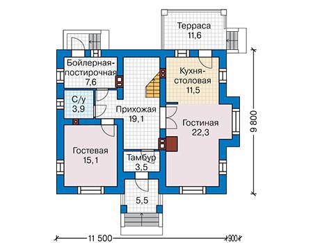 Планировка первого этажа :: Проект дома из кирпича 42-72