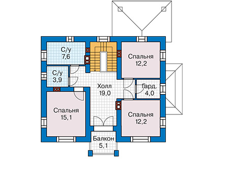 Планировка мансардного этажа :: Проект дома из кирпича 42-72