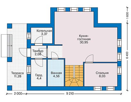 Планировка первого этажа :: Проект дома из кирпича 42-76