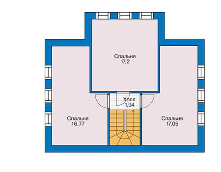 Планировка мансардного этажа :: Проект дома из кирпича 42-76