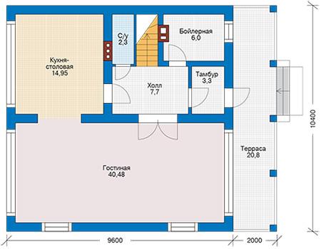 Планировка первого этажа :: Проект дома из кирпича 42-77