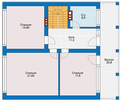 Планировка мансардного этажа :: Проект дома из кирпича 42-77