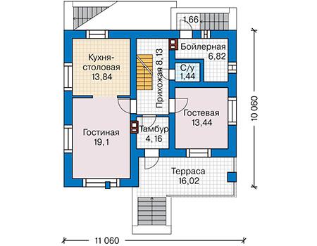 Планировка первого этажа :: Проект дома из кирпича 42-93