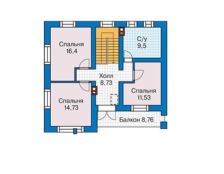 Планировка мансардного этажа :: Проект дома из кирпича 42-93