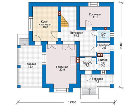 Планировка первого этажа :: Проект дома из кирпича 43-10