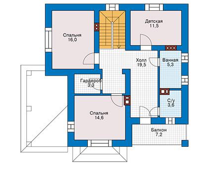 Планировка второго этажа :: Проект дома из кирпича 43-10