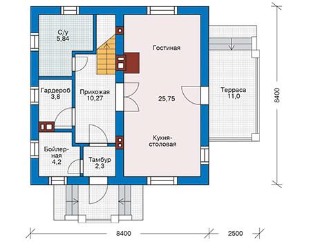Планировка первого этажа :: Проект дома из кирпича 43-13