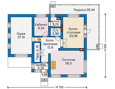 Планировка первого этажа :: Проект дома из кирпича 43-24