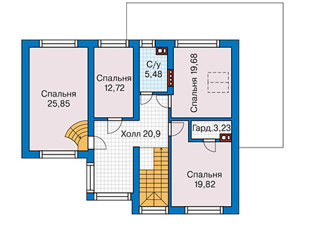Планировка мансардного этажа :: Проект дома из кирпича 43-24