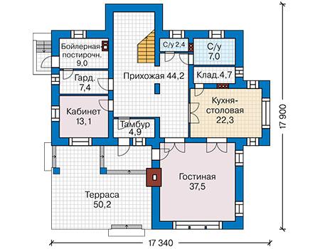 Планировка первого этажа :: Проект дома из кирпича 43-30