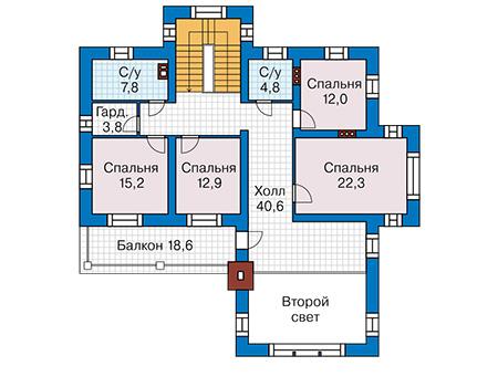 Планировка второго этажа :: Проект дома из кирпича 43-30