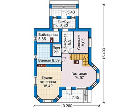 Планировка первого этажа :: Проект дома из кирпича 43-47