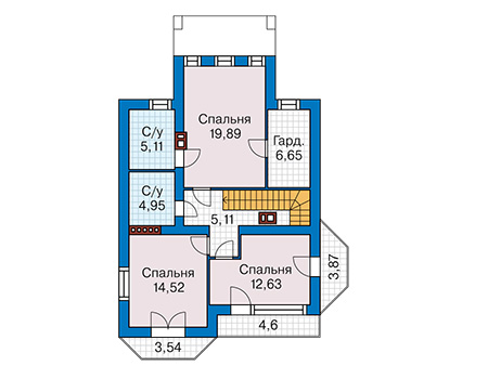 Планировка второго этажа :: Проект дома из кирпича 43-47