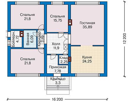 Планировка первого этажа :: Проект дома из кирпича 43-66