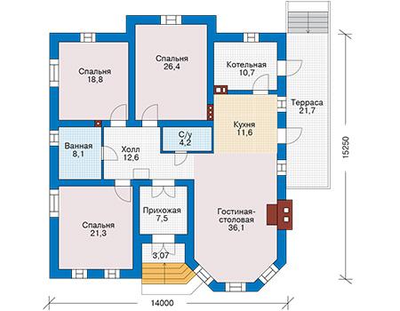 Планировка первого этажа :: Проект дома из кирпича 43-74