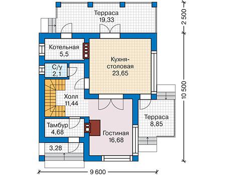 Планировка первого этажа :: Проект дома из кирпича 43-78