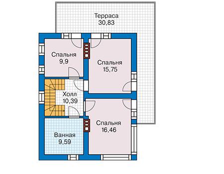 Планировка второго этажа :: Проект дома из кирпича 43-78