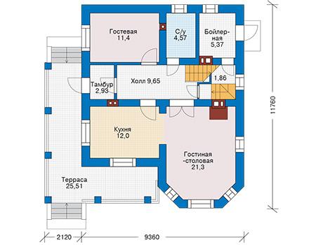 Планировка первого этажа :: Проект дома из кирпича 43-82