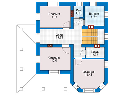 Планировка второго этажа :: Проект дома из кирпича 43-82