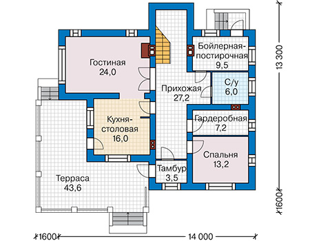 Планировка первого этажа :: Проект дома из кирпича 43-84