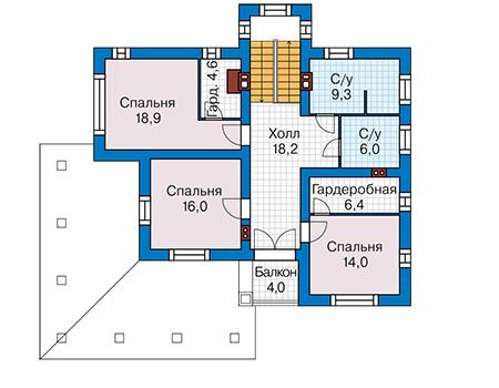 Планировка второго этажа :: Проект дома из кирпича 43-84