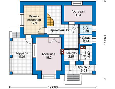 Планировка первого этажа :: Проект дома из кирпича 44-21