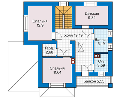 Планировка второго этажа :: Проект дома из кирпича 44-21