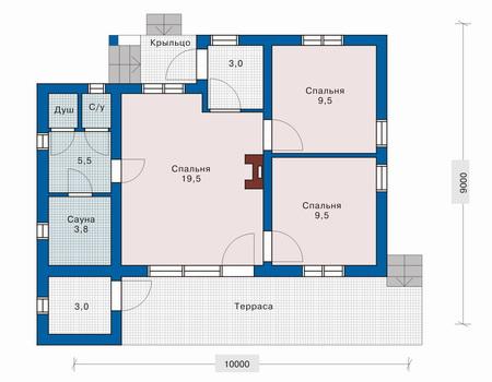 Планировка первого этажа :: Проект дома из газобетона 51-12