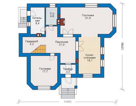 Планировка первого этажа :: Проект дома из комбинированных материалов 53-32
