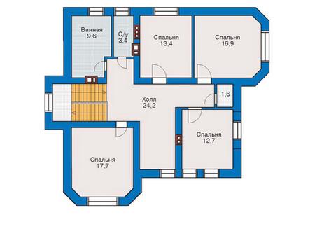 Планировка второго этажа :: Проект дома из комбинированных материалов 53-32