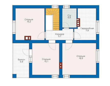 План мансардного этажа :: Проект 53-39