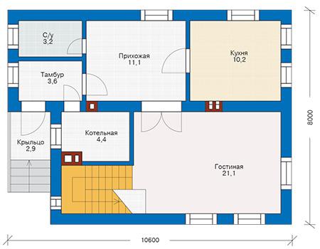 Планировка первого этажа :: Проект дома из газобетона 53-53