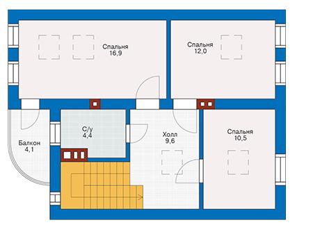 Планировка мансардного этажа :: Проект дома из газобетона 53-53