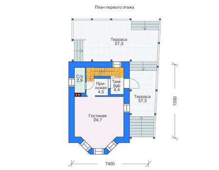 Планировка первого этажа :: Проект дома из газобетона 53-70