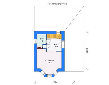 Планировка второго этажа :: Проект дома из газобетона 53-70