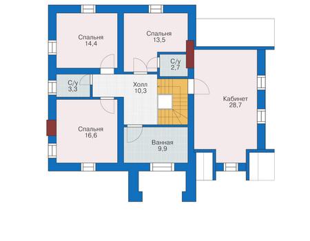 План мансардного этажа, проект дома из блоков общей площадью 194,6 кв. метров.