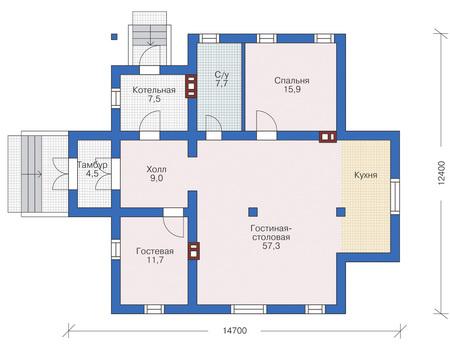 Планировка первого этажа :: Проект дома из газобетона 53-88