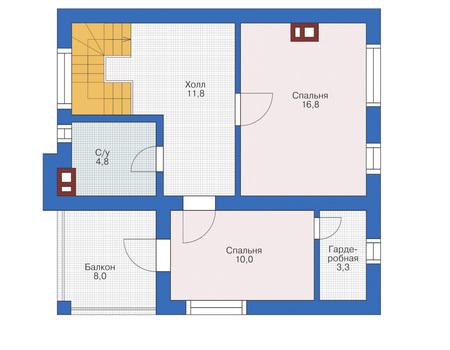 Планировка мансардного этажа :: Проект дома из газобетона 53-89